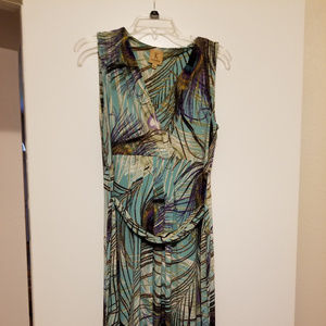Kasper peacock feather maxi dress